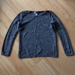 Loft charcoal grey shimmer button sweater